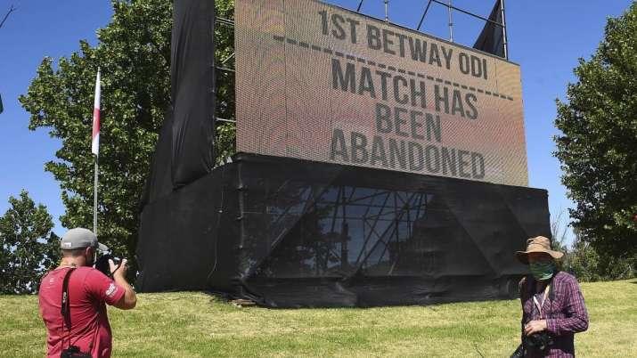 A board announces Sunday, Dec. 6, 2020, that the first ODI
