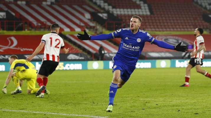 Leicester's Jamie Vardy celebrates after scoring his side's