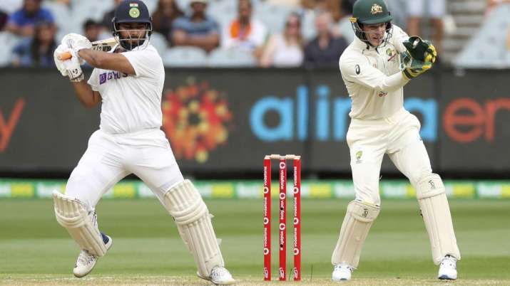 India's Rishabh Pant bats as Australian wicketkeeper Tim