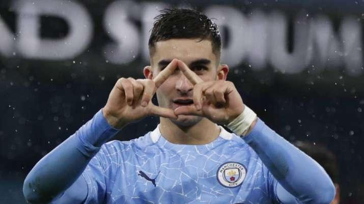 Manchester City's Ferran Torres celebrates after scoring