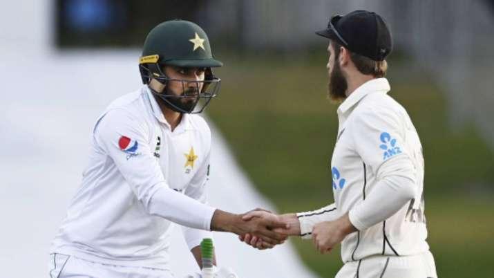 New Zealand captain Kane Williamson, right, congratulates