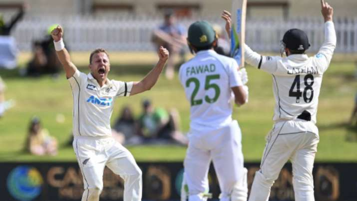 New Zealand bowler Neil Wagner celebrates the wicket of