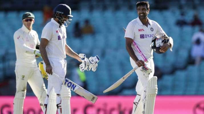 Not out batsman India's Ravichandran Ashwin, right, and