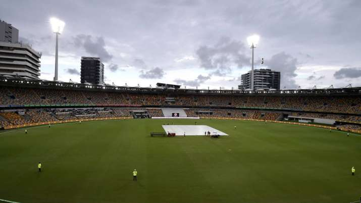 A general view as rain delays play during day four of the