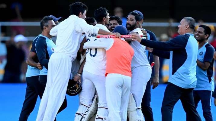Team India celebrates after Gabba win
