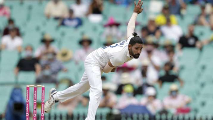 India's Mohammed Siraj bowls during play on day two of the