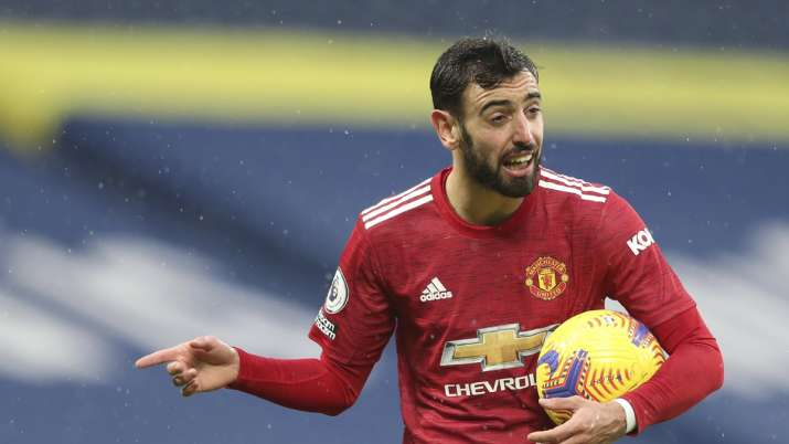 Manchester United's Bruno Fernandes gestures during the