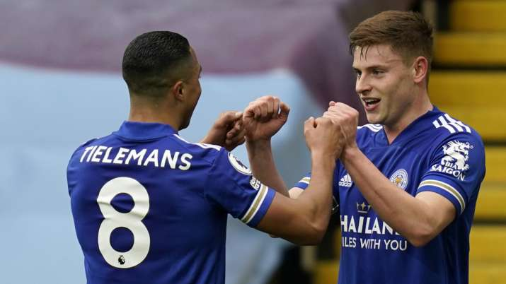 Leicester's Harvey Barnes, right, celebrates with