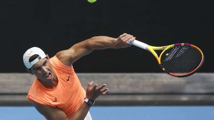Spain's Rafael Nadal serves during a practice session ahead