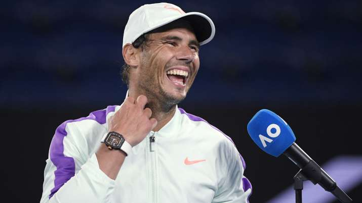 Spain's Rafael Nadal laughs during an interview following