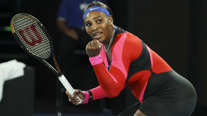 United States' Serena Williams reacts after winning a point