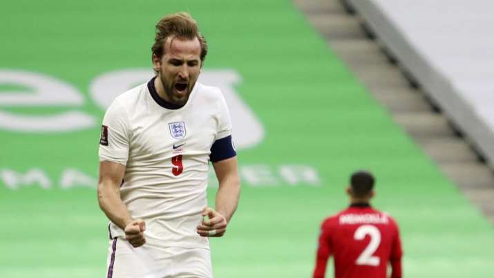 England's Harry Kane celebrates his side's first goal