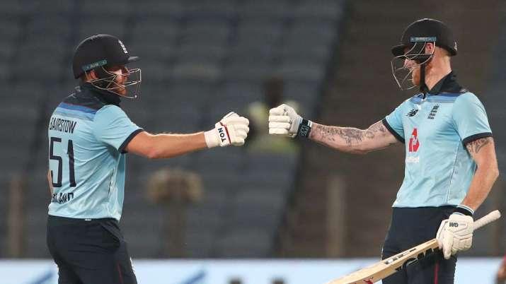 England batsman Ben Stokes celebrates his half century with