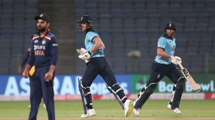 England batsmen Ben Stokes (l) and Jonathan Bairstow pick