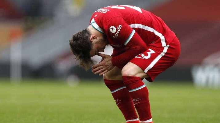 Liverpool's Xherdan Shaqiri reacts after missing a scoring