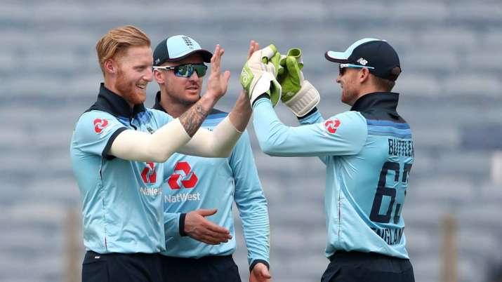 Ben Stokes of England celebrates with Jason Roy and Jos
