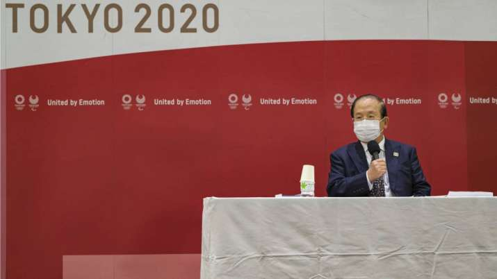 Toshio Muto, CEO of Tokyo 2020, attends a press conference