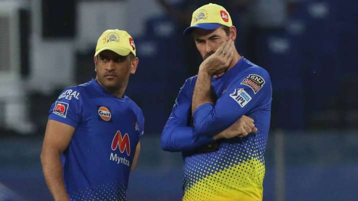 MS Dhoni with CSK head coach Stephen Fleming
