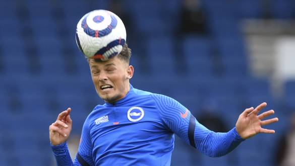 Brighton's Ben White warms up before the English Premier