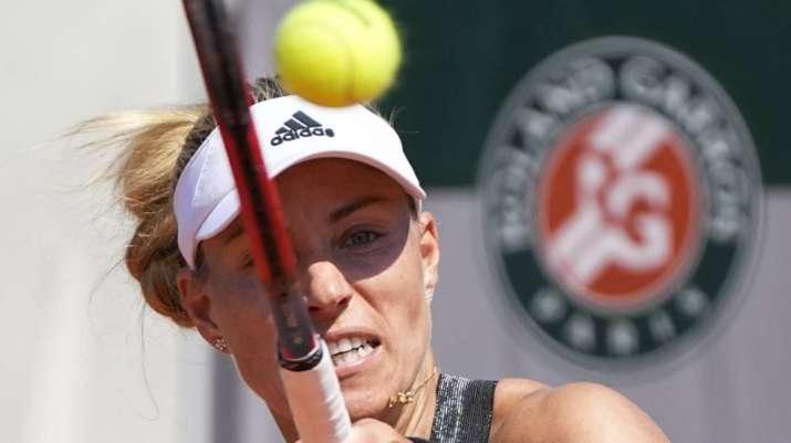 Germany's Angelique Kerber returns the ball to Ukraine's