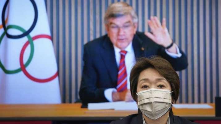 In this April 28, 2021, file photo, IOC President Thomas