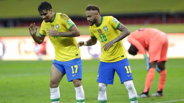 Neymar with Brazil's Lucas Paqueta