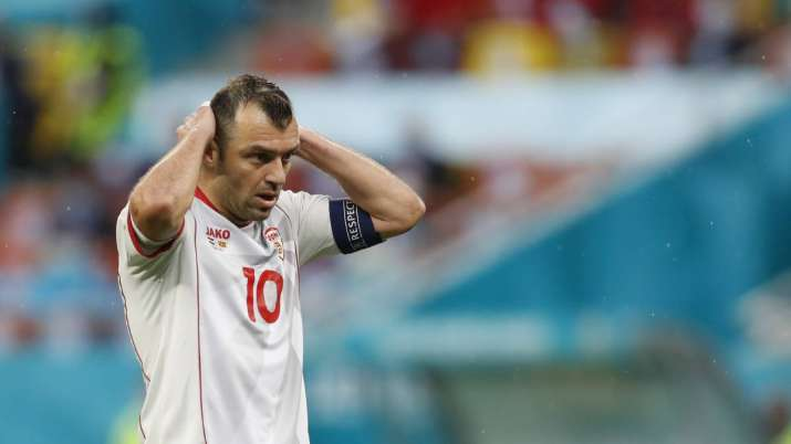 North Macedonia's Goran Pandev reacts after missing a