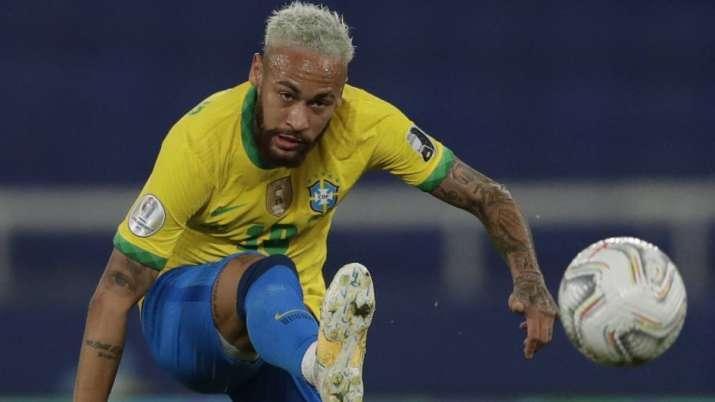Brazil's Neymar takes a shot during a Copa America soccer