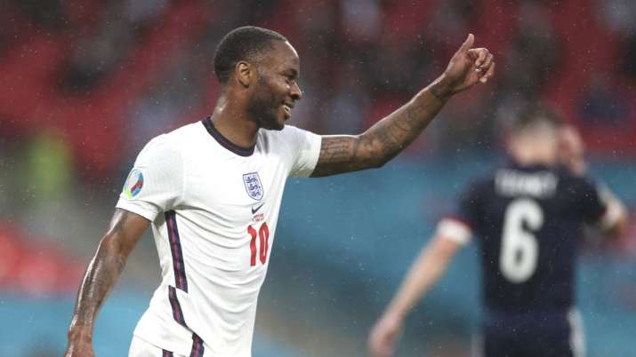 England's Raheem Sterling fives his thumb up during the