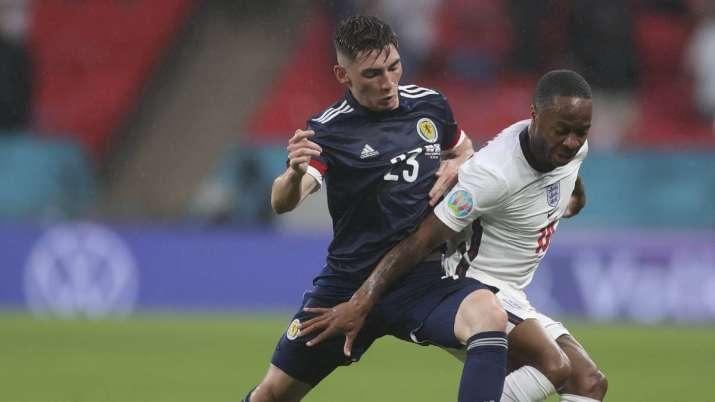 Scotland's Billy Gilmour, left, and England's Phil Foden