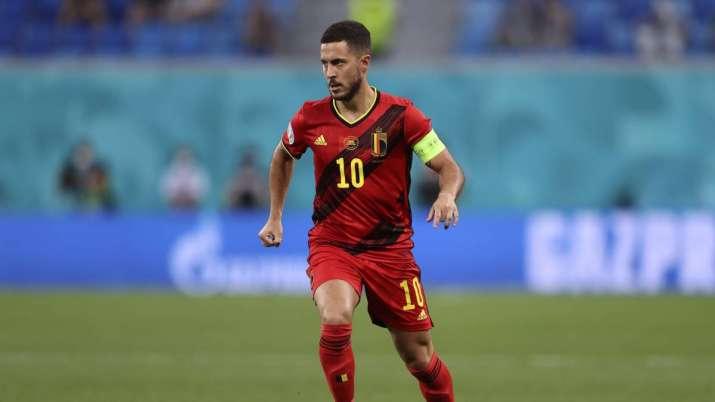 Belgium's Eden Hazard controls the ball during the Euro