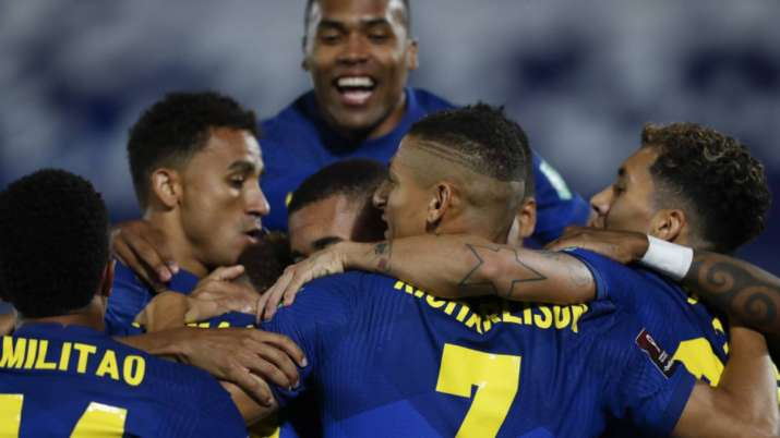 Players of Brazil celebrate their side's opening goal