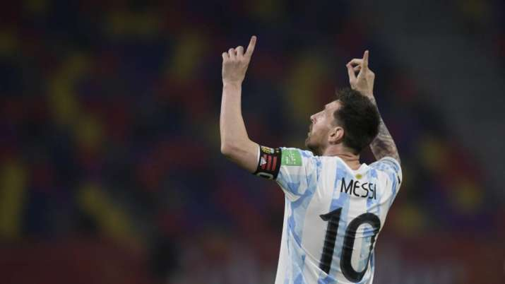 Argentina's Lionel Messi celebrates scoring his side's