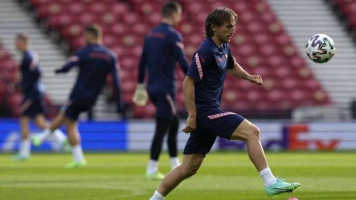 Croatia's Luka Modric controls the ball during a training