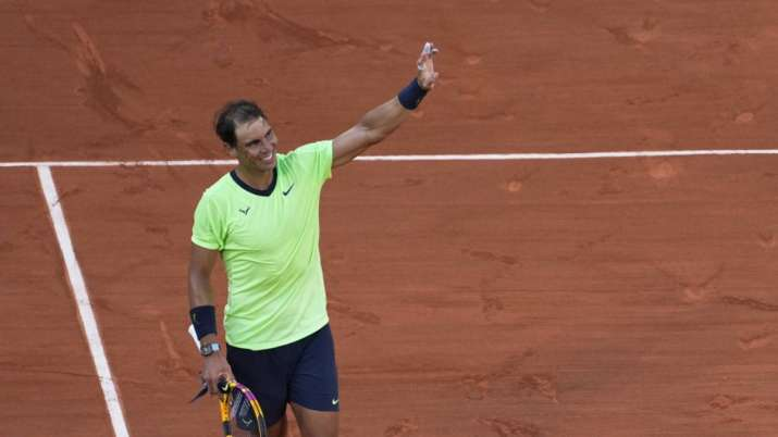 Spain's Rafael Nadal celebrates after defeating Italy's