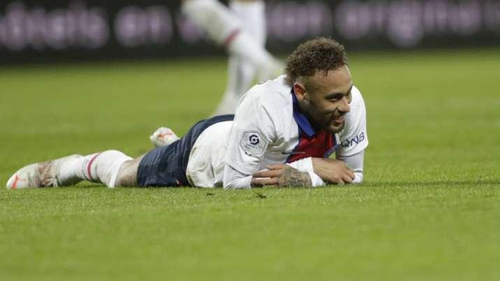 PSG's Neymar reacts at the end of the French League One