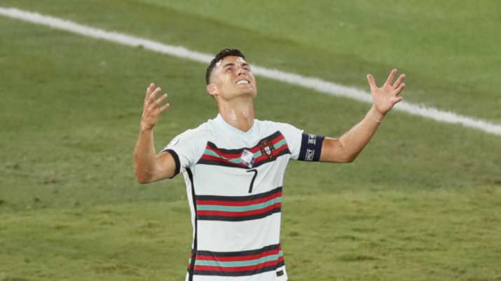 Portugal's Cristiano Ronaldo reacts in frustration during