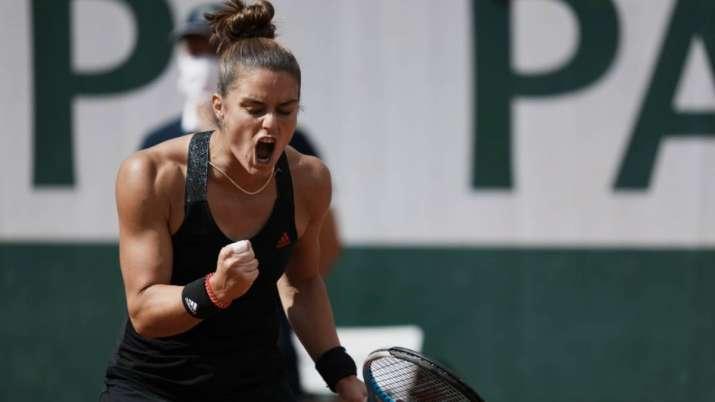 Maria Sakkari of Greece celebrates after winning a point