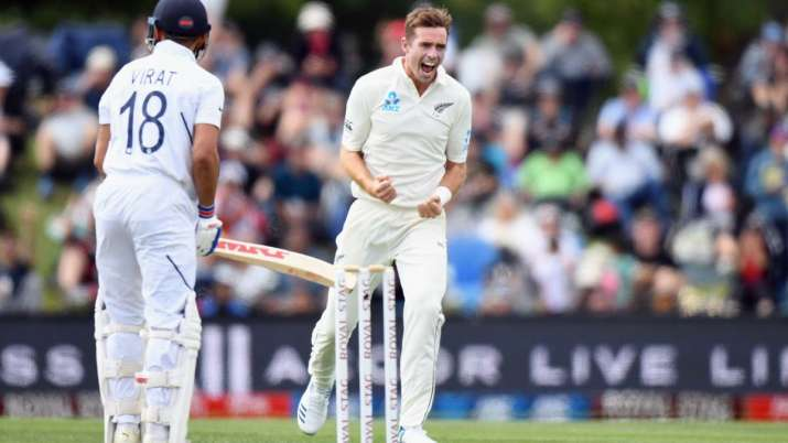 Tim Southee dismissing India skipper Virat Kohli