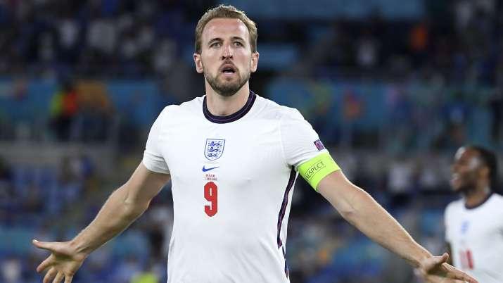 England's Harry Kane celebrates after scoring his side's