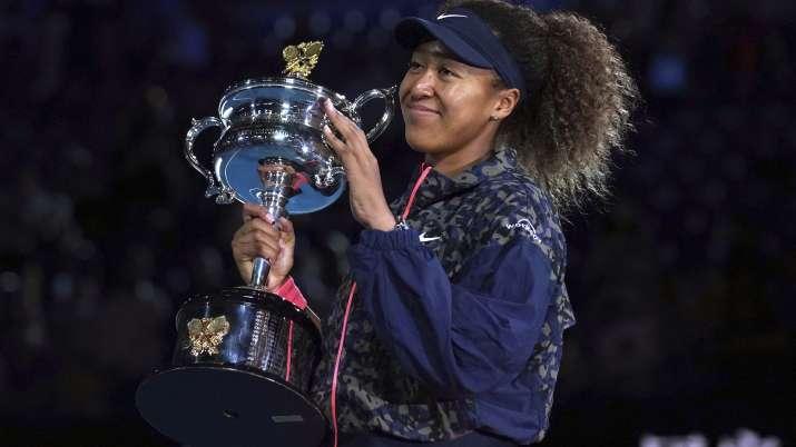Japan's Naomi Osaka holds the Daphne Akhurst Memorial Cup