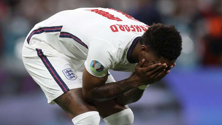 England's Marcus Rashford reacts after failing to score a