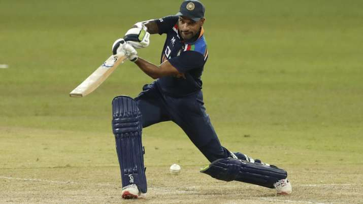 India's Shikhar Dhawan plays a shot during the first one