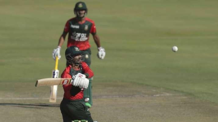 Bangladesh batsman Naim Sheikh plays a shot