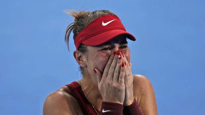 Belinda Bencic, of Switzerland, becomes emotional after