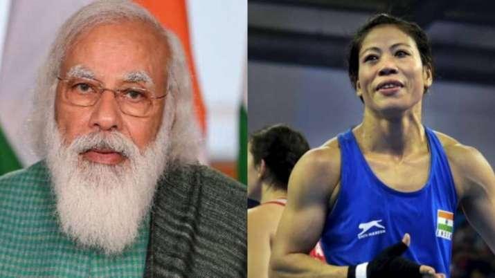 PM Narendra Modi and MC Mary Kom