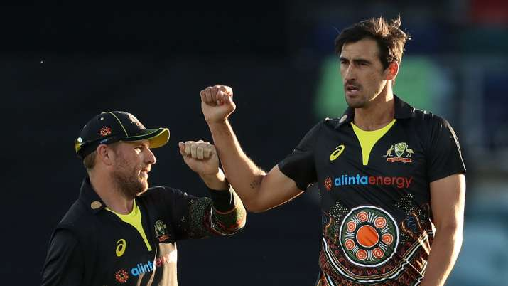 Aaron Finch and Mitchell Starc