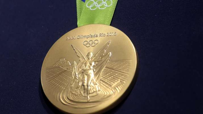 A close-up of the Olympic gold medal during the Launch of