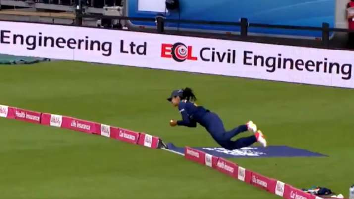 WATCH: Catch of the summer! Harleen Deol produces a sensational boundary catch during ENG-W vs IND-W