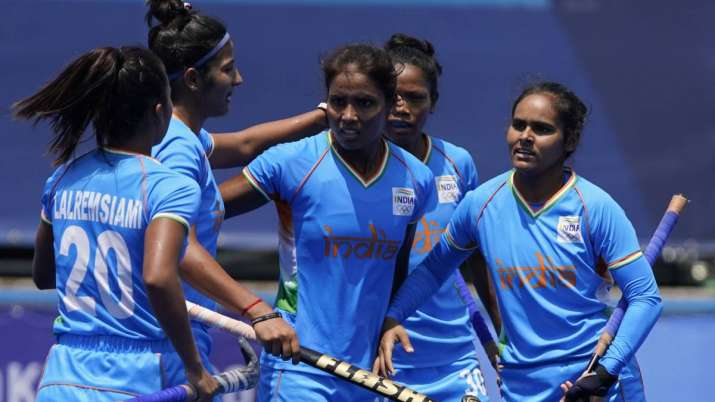 Vandana Katariya (centre) celebrates with Indian teammates after scoring against South Africa in Tok